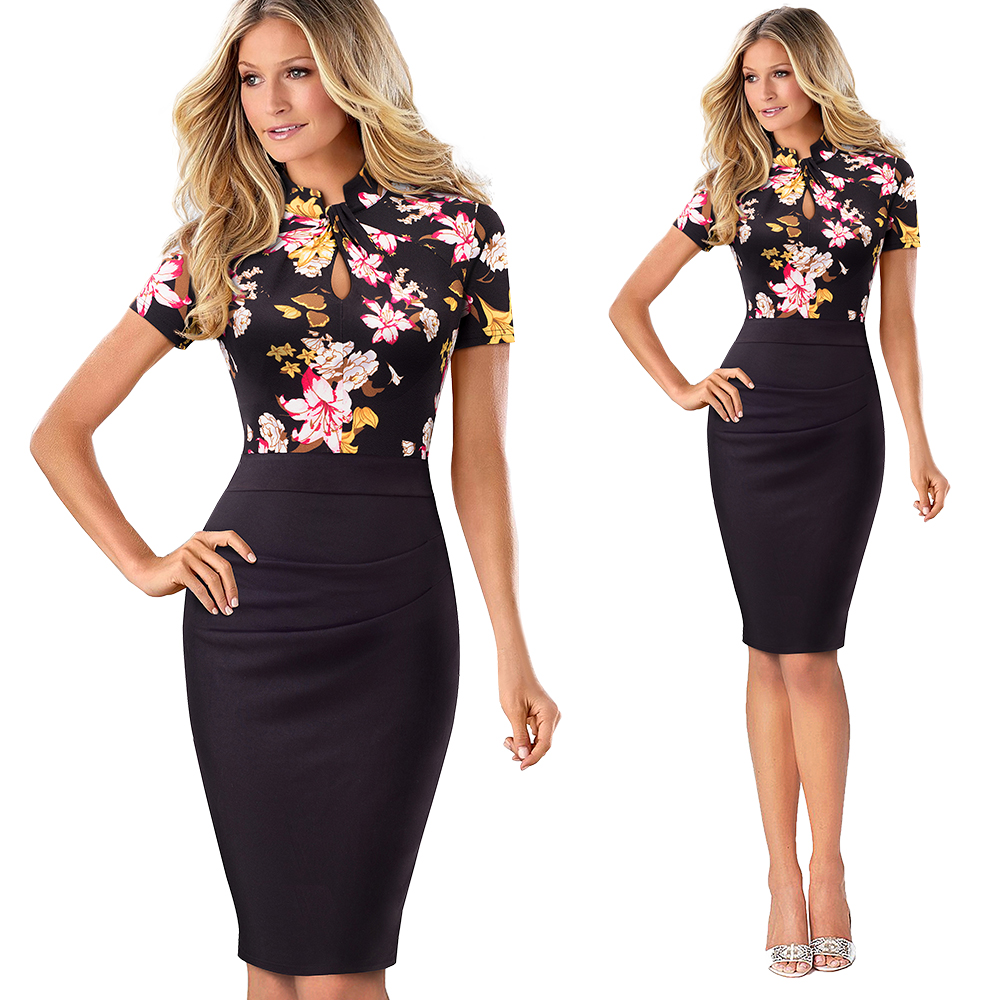 Elegant Work Office Business Drapped Contrasting Bodycon Slim Pencil Lady Dress Women Sexy Front Key Hole Summer Dress EB430 26