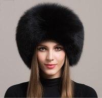 Winter Fashion Russian Fox Fur Princess Hat Real Fox Fur Hat Women Warm Cap Leather Headdress Mongolia Cap FFHH002