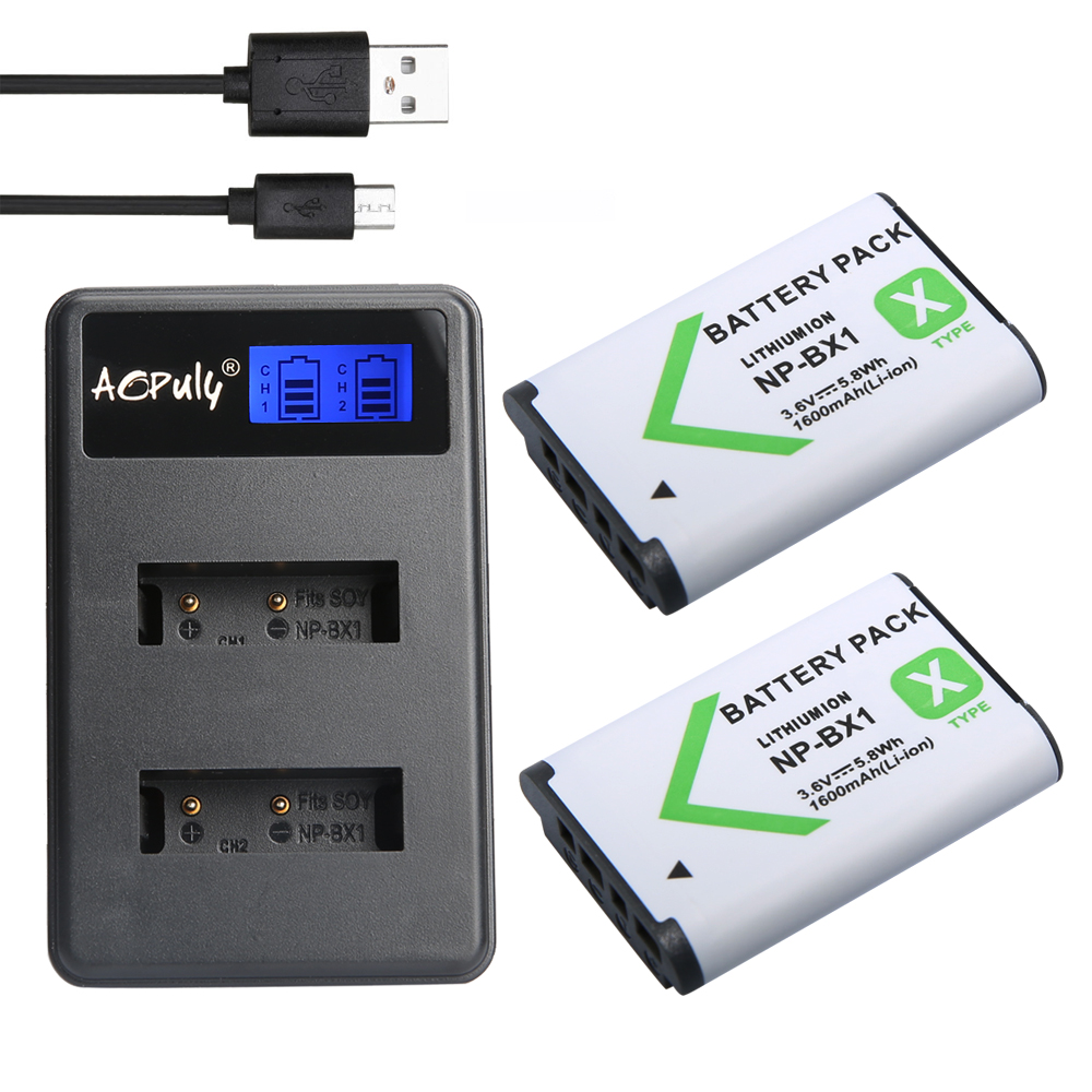 2Pcs NP-BX1 NP BX1 NPBX1 Battery + LCD USB Charger For Sony HDR-AS200v AS20 AS100V AZ1 DSC-RX100 X1000V WX350 RX1 AS15