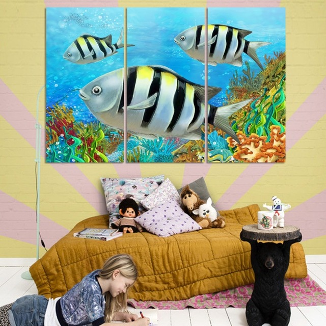 3 panels free shipping home deco decorative painting on canvas beautiful scenery ocean lovely fish no