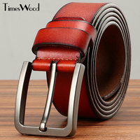 TIMESWOOD Luxury Brand Metal Pin Belt Real Cow Leather For Men 2017 Belts With Buckle Coffee