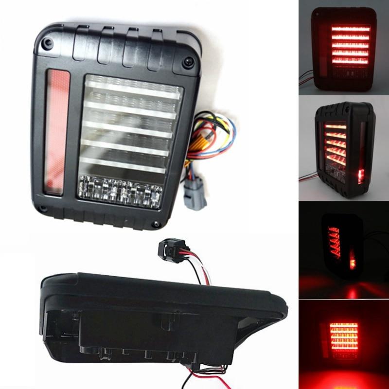 Pair LED Tail Light Brake Reverse Turn Signal Lamp 07-16 For Jeep Wrangler JK car styling tail lights for toyota highlander 2015 led tail lamp rear trunk lamp cover drl signal brake reverse