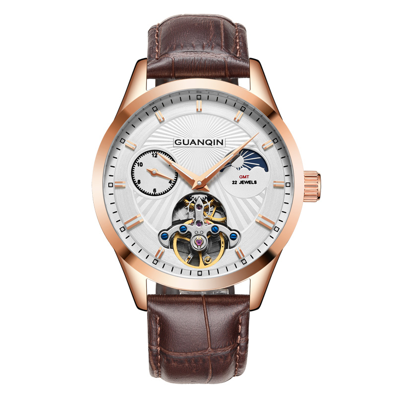 GUANQIN GJ16105 watches men luxury brand Tourbillon Moon Phase Automatic Mechanical Leather Watch Men Sport Date reloj hombre 2015 new masculino fashion luxury brand jaragar mechanical men watches tachymeter tourbillon automatic date dial reloj hombre