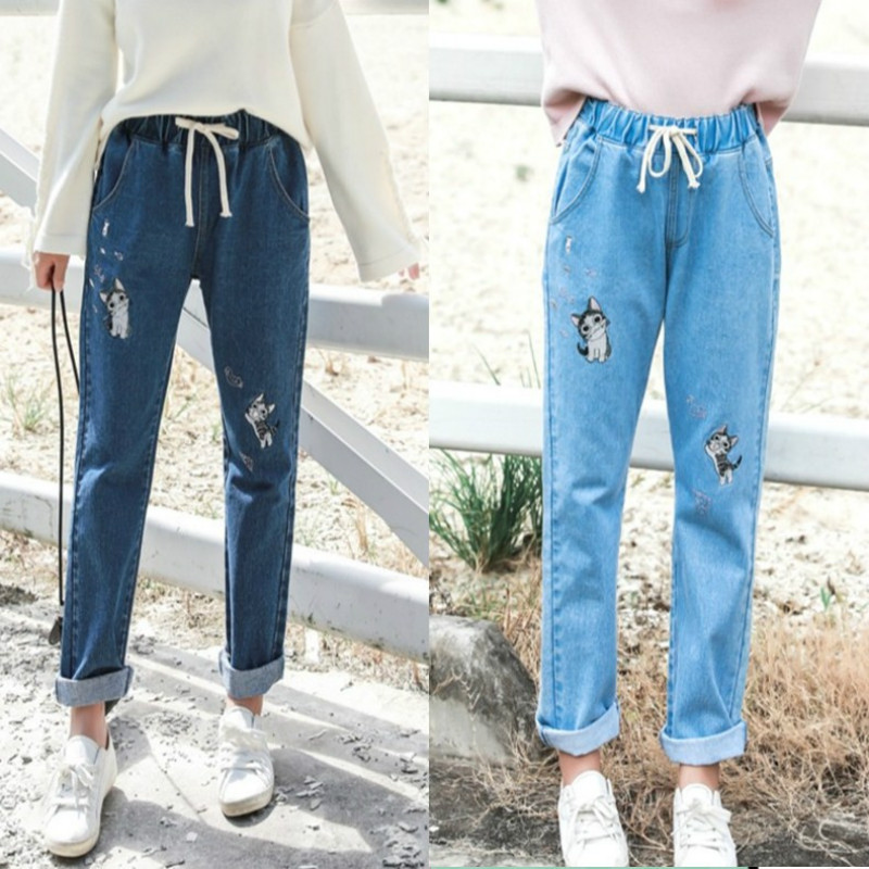 Sweet Cute Cat Puppy Embroidery Girl's Denim Jeans Elastic Waist Tie Student Denim Jean Pants Cotton Women Denim Trousers