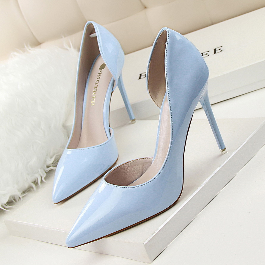 New Autumn Women Pumps Fashion Patent Leather Pointed High Heel Shoes Shallow Pointed Sexy Thin High