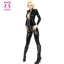 Women Nightclub Party Cosplay Black Erotic Fetish Latex Catsuit Sex Spandex Bodysuit Zentai Suit Sexy PVC Costumes For Halloween