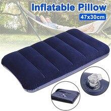 Foldable Pillow Outdoor Travel Sleep Pillow Air Inflatable Portable Break Rest Pillow Blue цены онлайн