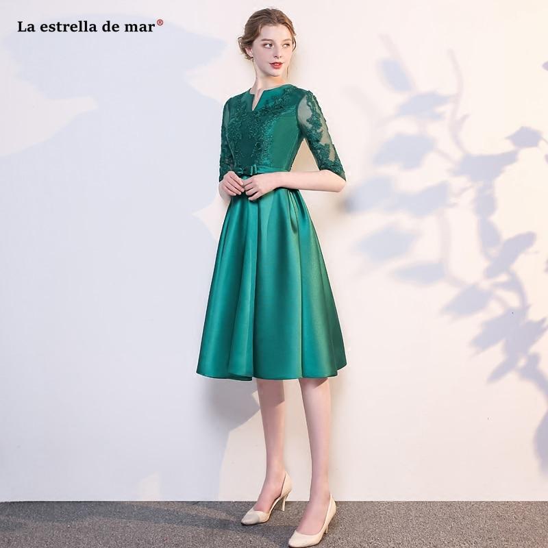 gaun pesta dewasa new sexy V-neck half-sleeved lace satin A Line Emerald green   bridesmaid     dress   Tea robe demoiselle d'honneur