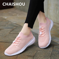 CHAISHOU Women Shoes Knitting Sock Sneakers Women Spring Summer Breathable Mesh Plus Size Flat Shoes Women krasovki Famela B 465