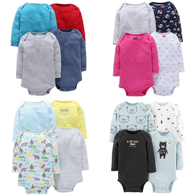 4pcs/lot Baby Bodysuits Cotton Baby Boy Girl Clothes Infant Short Sleeve Jumpsuit Body For Babies Newborns Baby Clothing
