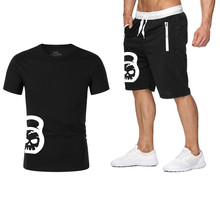 New Brand t shirt Men Sets Fashion cotton short sleeve Sporting Suit High quality T-shirt +shorts Mens 2 Pieces clothing