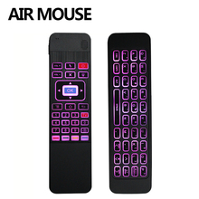 лучшая цена NEW MODEL! 2017 2.4G air mouse mini wireless T3 keyboard with touchpad T3 colorful backlight remote control