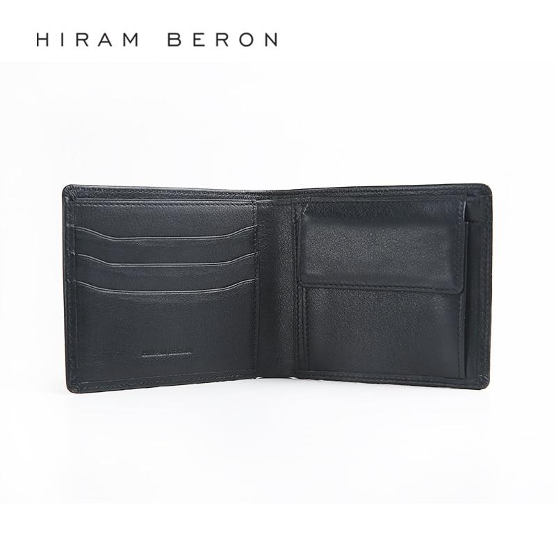 Hiram Beron Leather Wallet Men RFID Blocking Large Capacity Customized Holder Cow Leather Wallet Credit Card