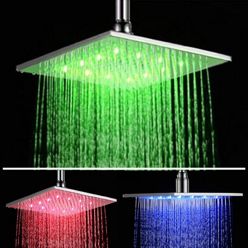 цены Uythner Bathroom 16 Inches Chrome Brass Rain Shower Head With Led Square Ultra Thin Shower Head Color Changed