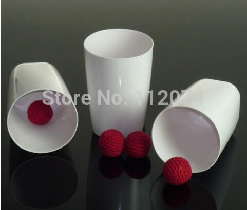 three cups with three balls,chop cup set(Porcelain White,Plastic),most famous magic in the world, good magic tric, magic game