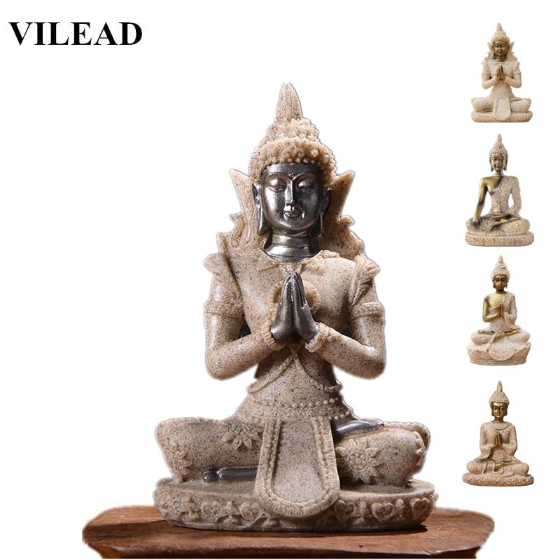 VILEAD 11 Style Nature Sandstone Buddha Statue Thailand Buddha Figurine Hindu Fengshui Sculpture Meditation Miniature Home Decor