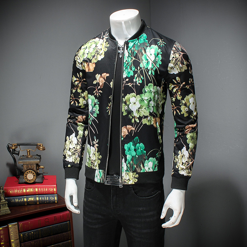 MIXCUBIC new spring Korean style Bright flowers printed jackets coat men casual slim printed jacket Outerwear for men size M-5XL