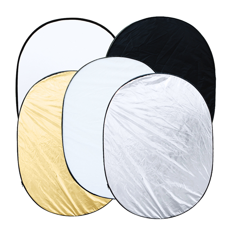90 * 120cm Oval 5 In 1 (Gold/Silver/White/Black/Translucent) Multi Portable Collapsible Studio Photo Photography Light Reflector