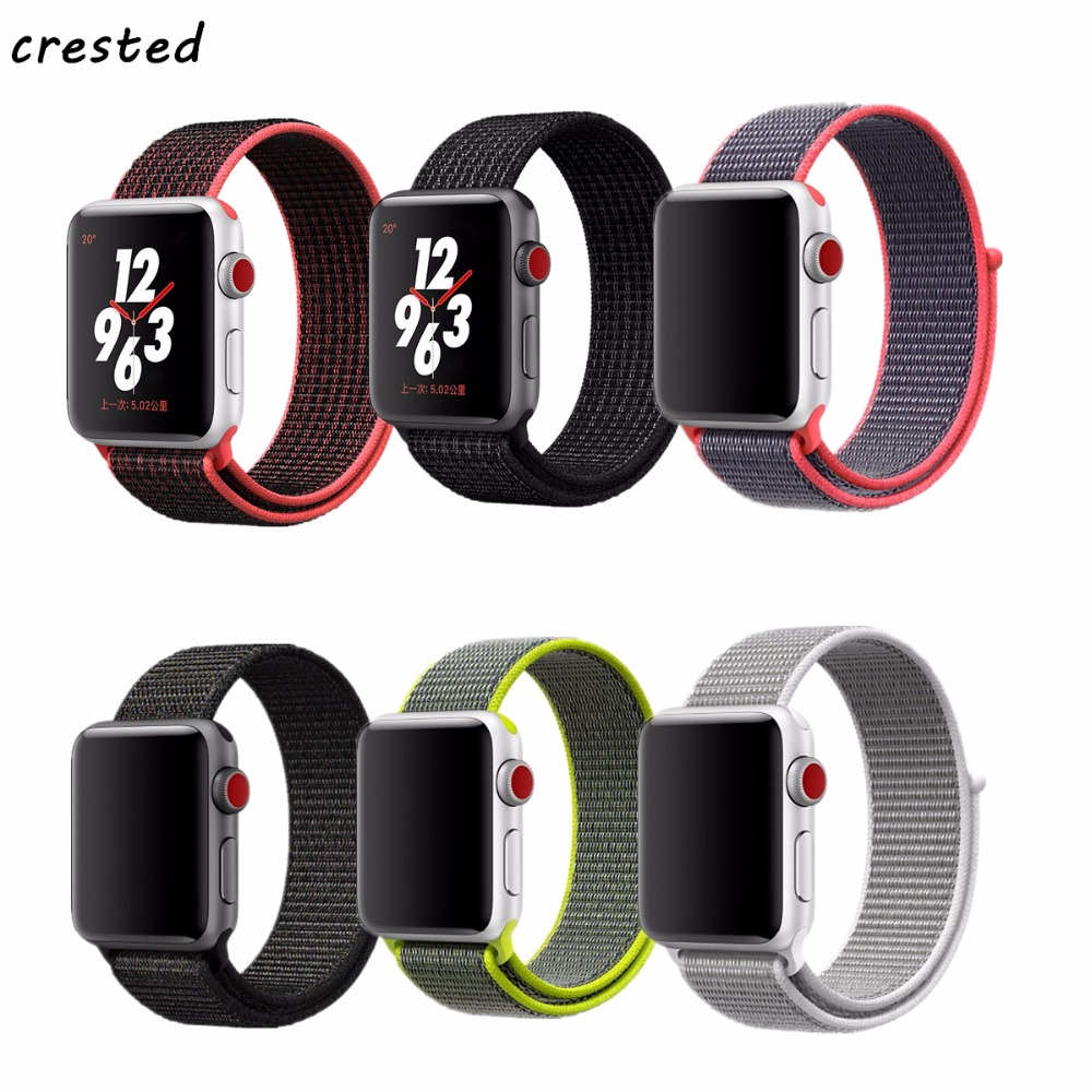 CRESTED sport loop band for apple watch 42mm 38mm iwatch 3/2/1 woven nylon wrist band bracelet Lightweight Breathable loop band crested nylon band strap for apple watch band 3 42mm 38mm survival rope wrist bracelet watch strap for apple iwatch 3 2 1 black