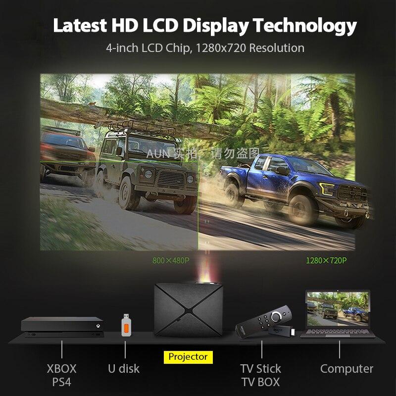 AUN C80 HD MINI Projektor, 1280x720 P, Video Beamer, 3D Projektor. Unterstützung 1080 P, HD IN, USB, (Optional C80 UP Android version WiFi) - 2