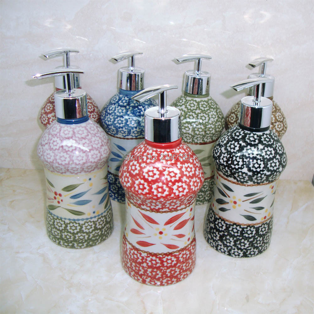 Nation Style Ceramic Emulsion Empty Bottle Soap Dispenser HighGrade Shampoo Hand Washing Liquid Hotel Packaging Bottles 500ml