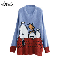 Artsnie Blue Streetwear Cartoon Knitted Pullovers Women Autumn 2018 O Neck Long Sleeve Girls Sweaters Tricot Jumper Pull Femme