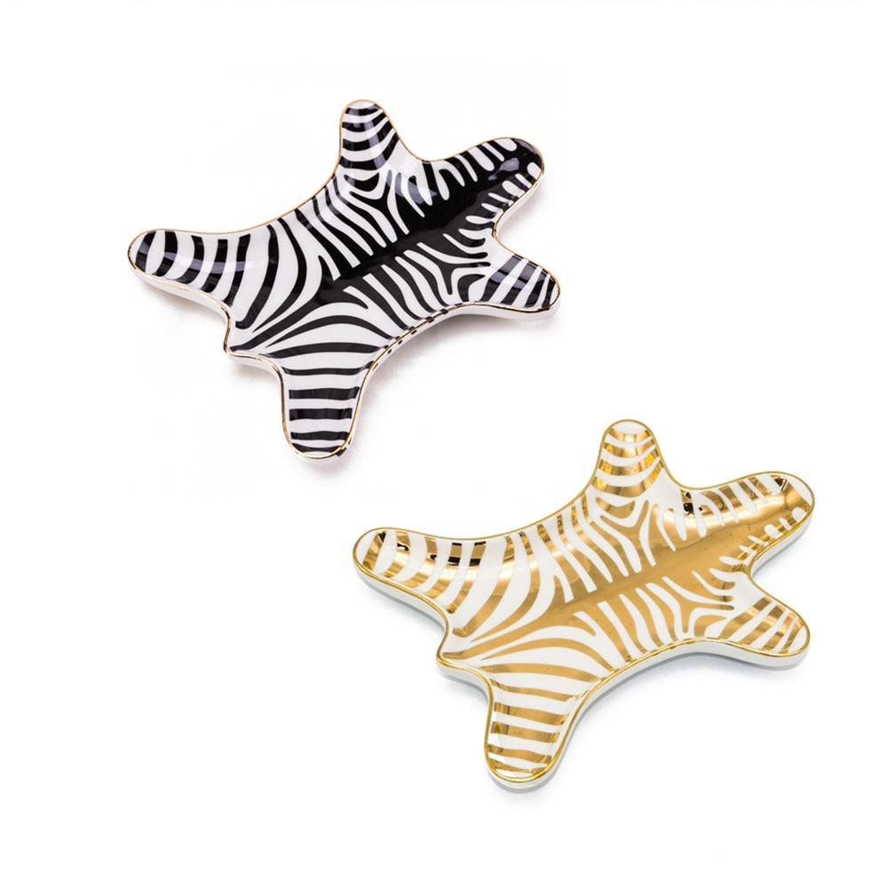 1PCS Ceramic Zebra Shape Plates  Jewelry Dish Bowls Ice Cream Decoration Crafts Snack Candy Storage Tray Snack Dish