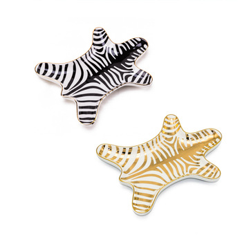 1PCS Ceramic Zebra Shape Plates  Jewelry dish bowls ice cream Decoration Crafts Snack candy storage tray Snack dish