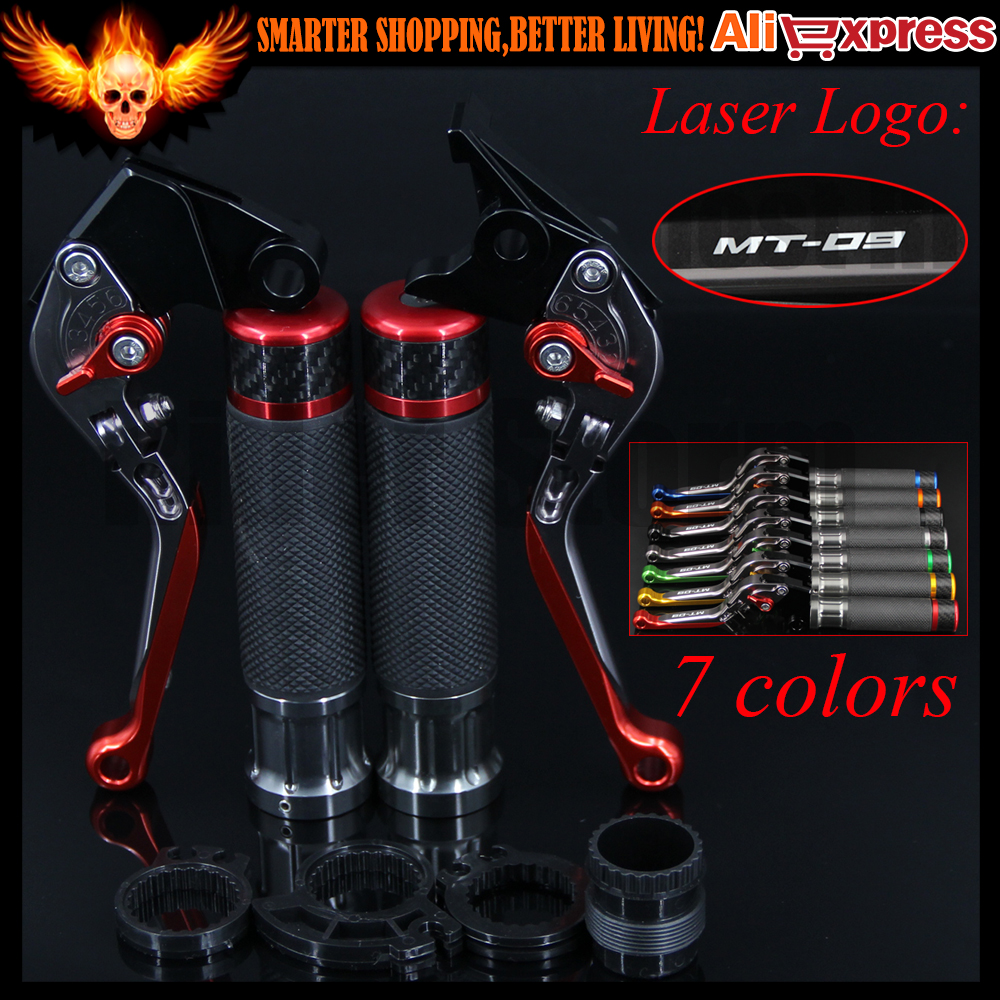 ФОТО 7 Colors Red+Titanium New CNC Motorcycle Brake Clutch Levers and Handlebar Hand Grips For Yamaha FJ-09/MT-09 Tracer 2015 2016