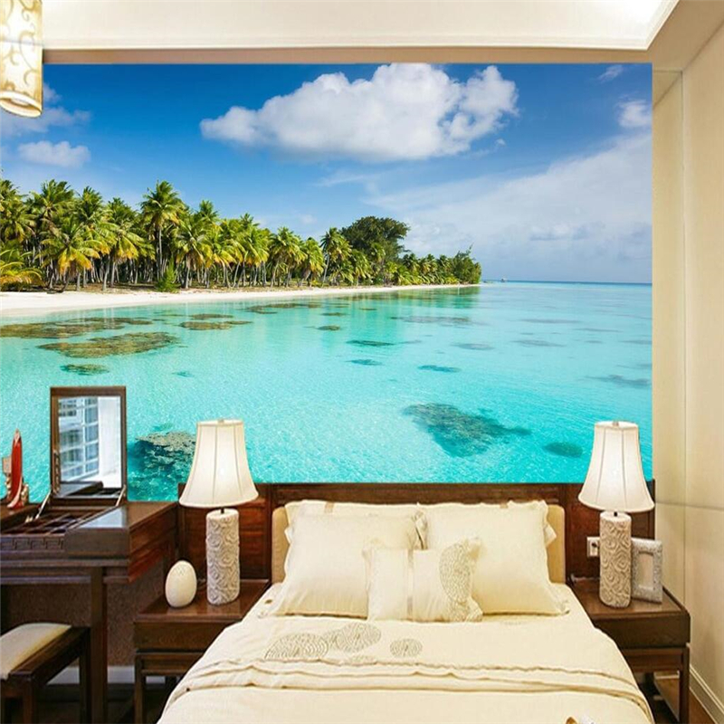 Beibehang Papel De Parede 3D Flooring Beach Shallow Background Photo Wallpaper For Living Room Large Mural Wall Paper Home Decor