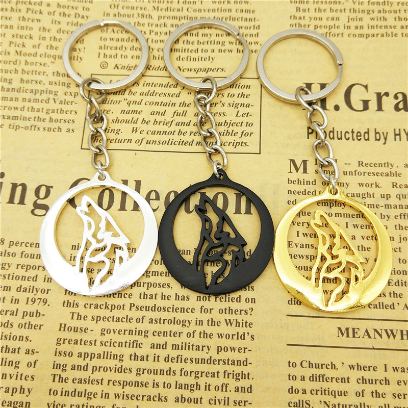 LPHZQH Trendy Howling Wolf Totem Car Key Chain Game of Thrones keychain wolf pendant Key ring for women men gift jewelry
