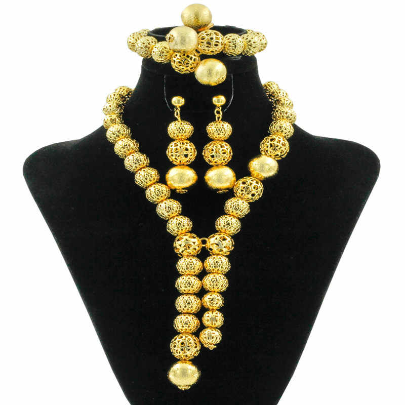 Classic African Beads Jewelry Sets Gold-color Necklace Indian Charm Women Earrings Bracelet luxury Wedding Party Fashion Jewelry