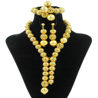 Free Shipping 2018 Classic African Beads Jewelry Sets Gold Necklace Indian Women Jewelry Earrings Bracelet Wedding