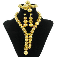 Classic African Beads Jewelry Sets Gold-color Necklace Indian Charm Women Earrings Bracelet luxury Wedding Party Fashion Jewelry(China)
