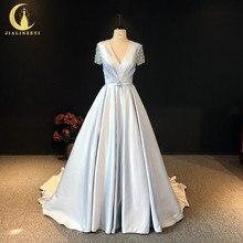 JIALINZEYI Real Sexy V Neck Short Sleeves Sky Blue Beads Back Sain Evening Dresses 2020