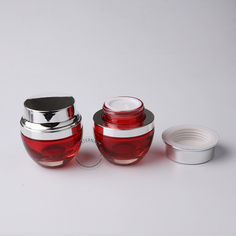 Promotion Empty 30g Glass Cream Bottle 30ml Red Facial Cream Pot Refillable Vial 1 OZ Sliver Lid Cosmetic Can 6 pcs 15g 30g 50g 1oz empty upscale refillable black cosmetics cream glass bottle container pot case jar with black lid