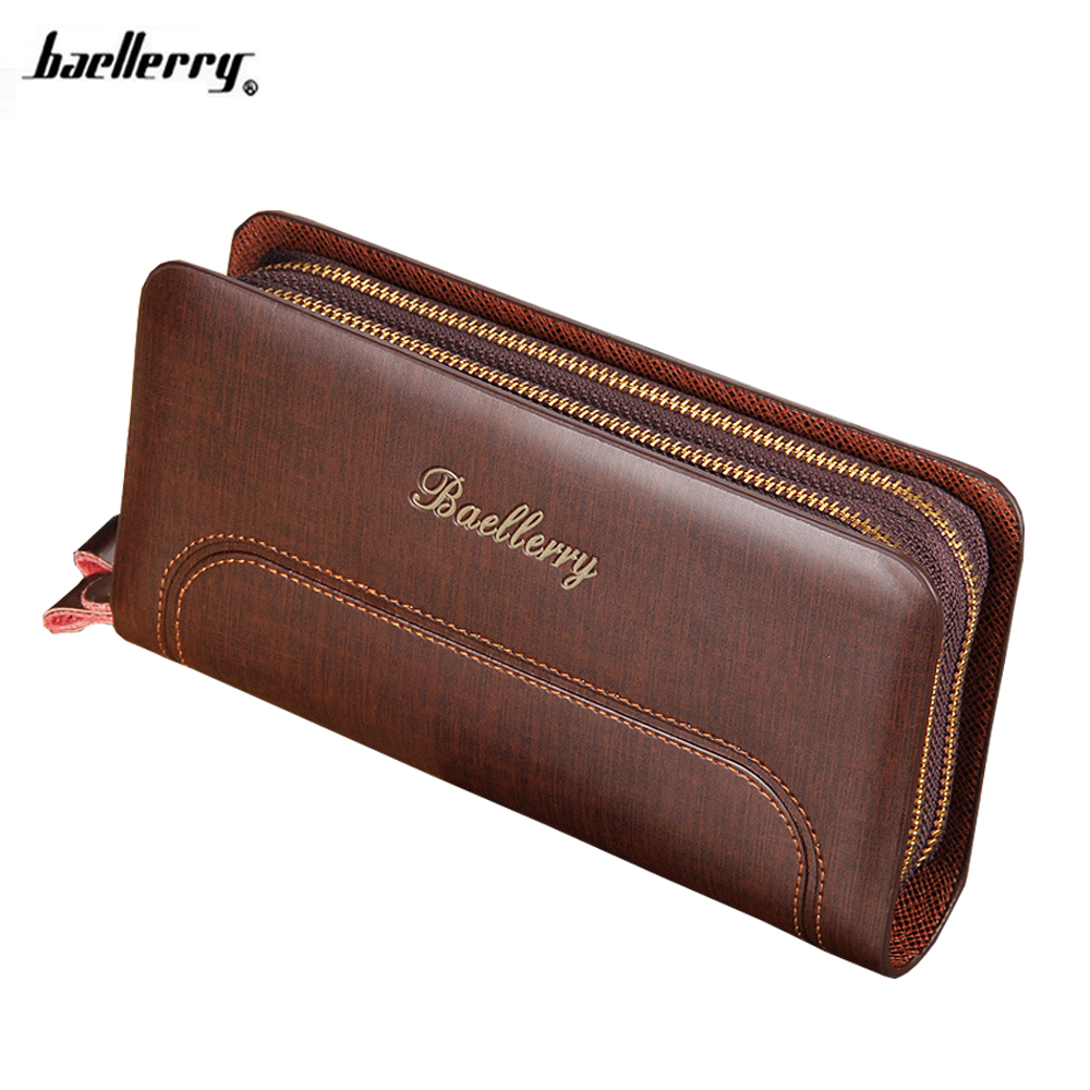 Famous Brand Baellerry Fashion Men's Clutch Wallets Purses Genuien PU Leather Wallet Purse Vintage Man Clutch Bag High Capacity baellerry business black purse soft light pu leather wallets large capity man s luxury brand wallet baellerry hot brand sale