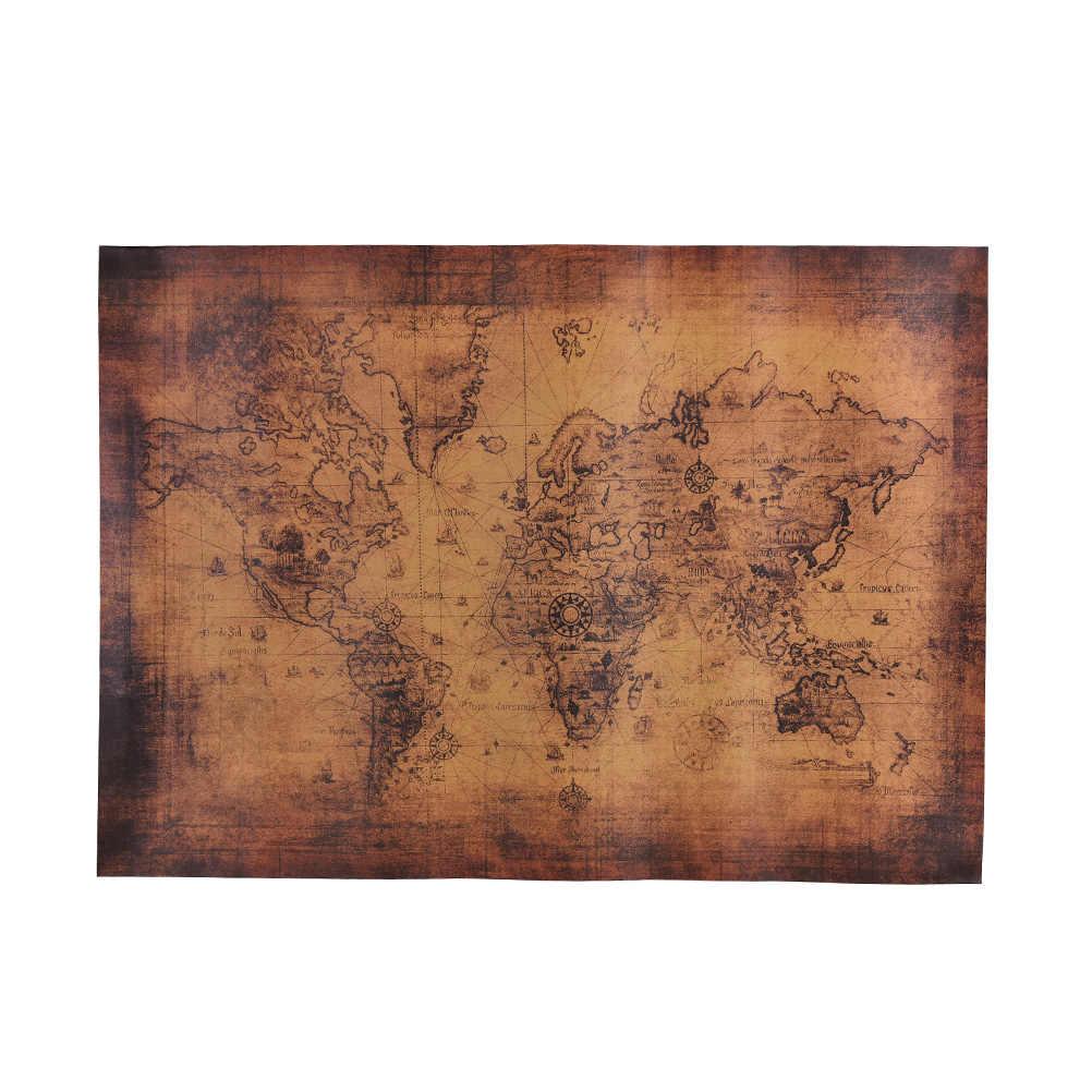 ZLinKJ 72.5x51.5cm mapa świata papierowe plakaty Retro styl Vintage w naklejkach ściennych Home Decoraction Art Word Map Wallpaper