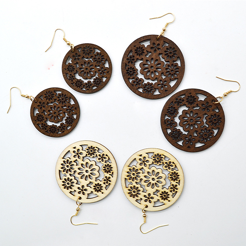 YULUCH Personality Freshness Temperament China New Design Handmade Two Sizes Round Hollow Flowers Wooden Earrings Jewelry Gifts