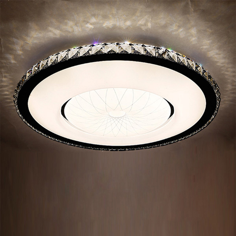 Modern minimalist fashion ceiling lamp LED crystal living room lamp bedroom lamp restaurant lighting fixtures ultra - thin noosion modern led ceiling lamp for bedroom room black and white color with crystal plafon techo iluminacion lustre de plafond