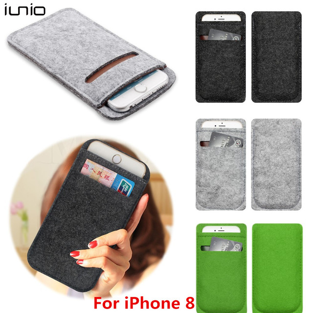 For Iphone 8 Pouch Case With Card Holder Wool Felt Wallet Phone Bag Le