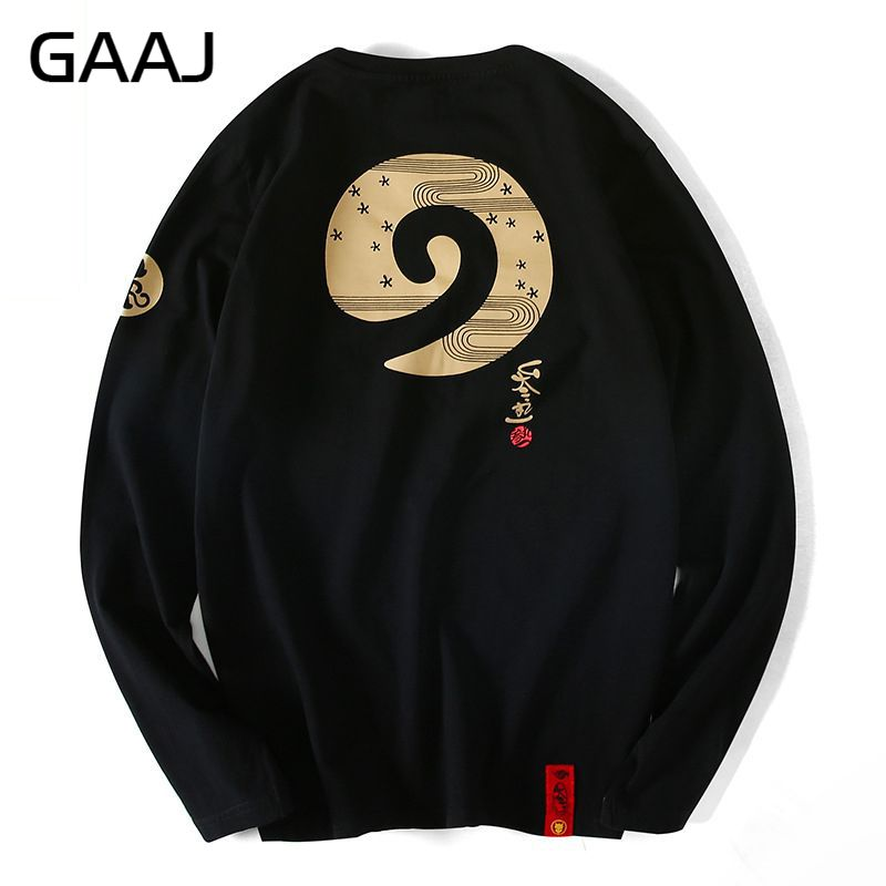 Sweet-Tempered Gaaj Men T Shirt Long Sleeve Japanese Style Print Chinese Kanji Letter Brand Hip Hop Funny Streetwear 4xl Top Tees Ht5wb1# Mild And Mellow Men's Clothing