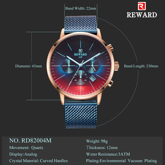 New Fashion Color Bright Glass Luxury Brand Stainless Steel Business Wrist Watch 5