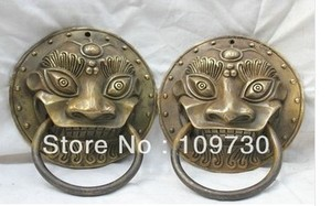 00669 4.8'' Chinese Pure Bronze statue Copper Lion Mask Head Statue Door Knocker Pair(China)
