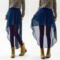 Fanala faldas mujeres sólido de la manera del verano asimétrico de gasa falda maxi larga elástico de cintura alta falda de 10 colores