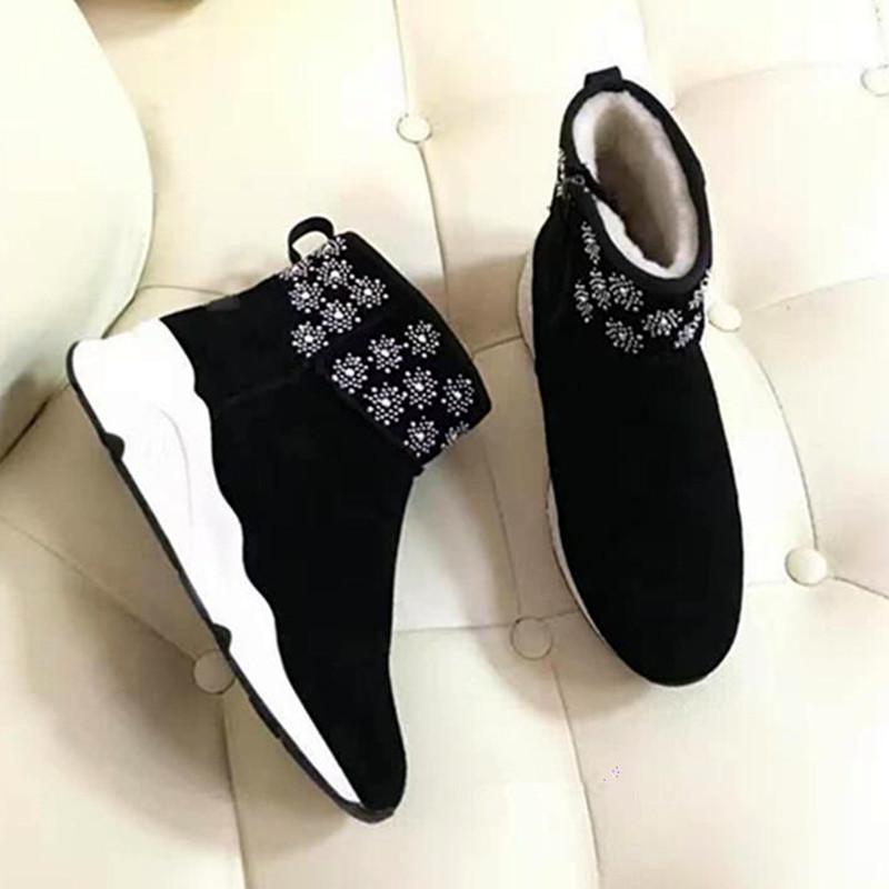 6608aabee3b2c US $182.0 |2017 Flowers Snow Boots Cute Sexy Shoes Woman Slip on Casual  Flats Winter Boots Latest New Women Boots Nubuck Leather Booties 40-in Snow  ...
