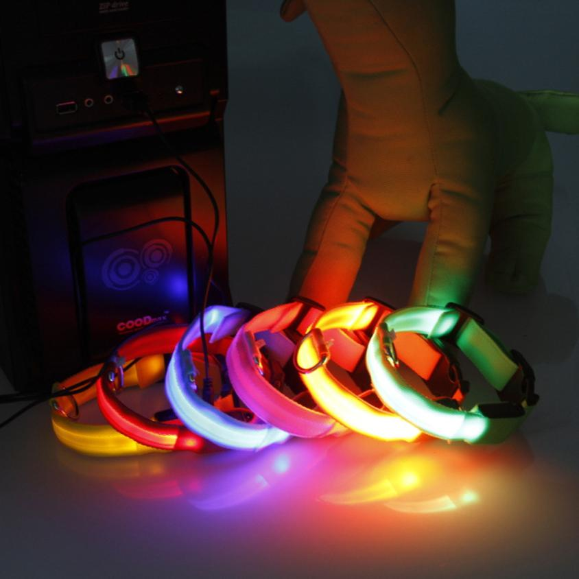 Verstelbare Veiligheid Huisdieren Hond LED Knippert Nachtlampje Nylon Kraag USB Opladen S-XL Levert Dropship dig1223 ...
