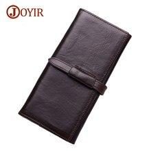 Joyir cow leather men long wallets genuine leather wallets for men purses long man wallet with phone bag clutch 9308