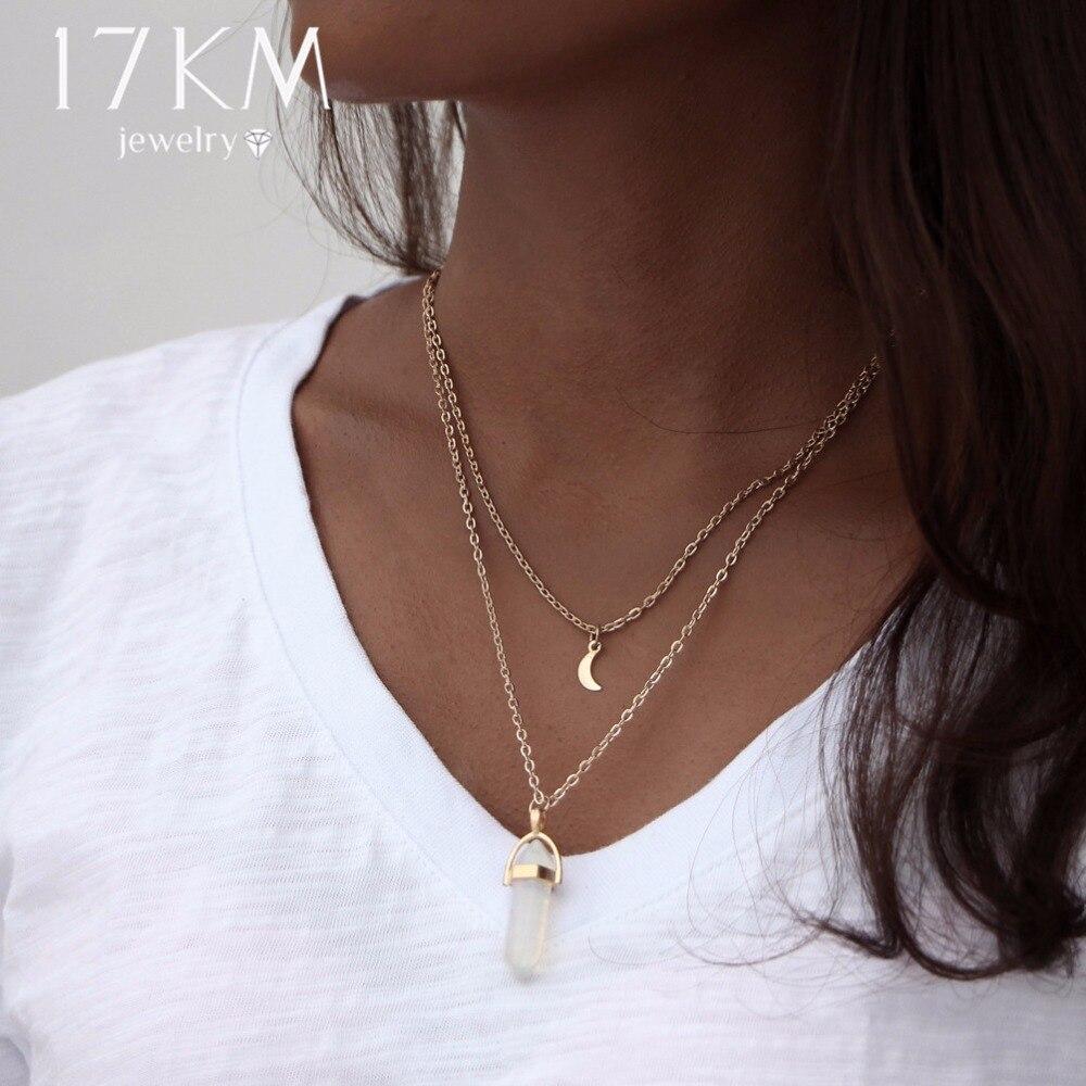 17KM Bohemian Opal Stone Moon Choker Necklaces New Fashion Charm Pendant Necklace for Women Vintage Geometric Boho Jewelry