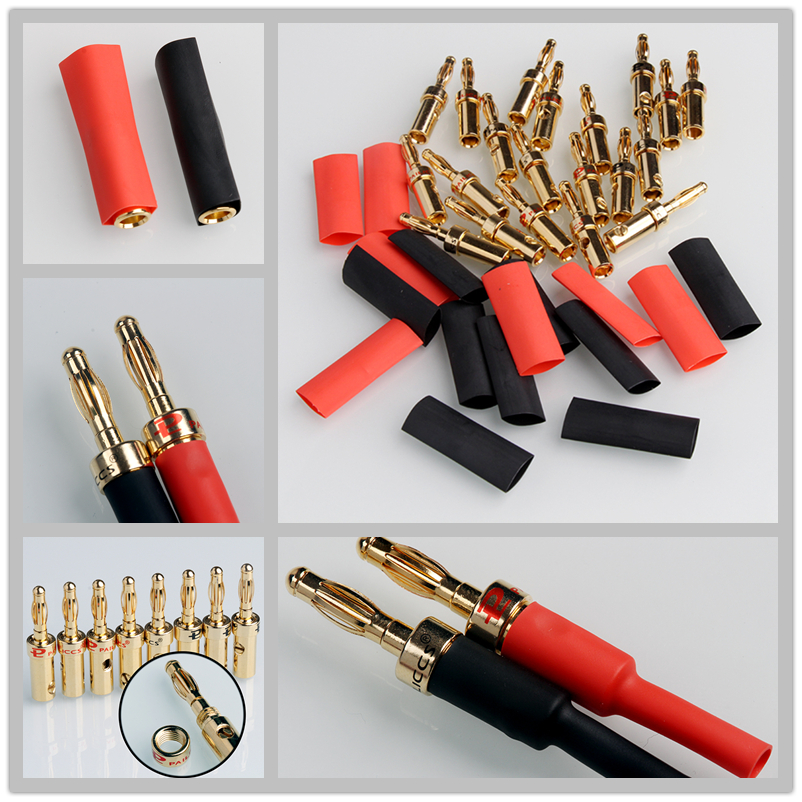 20pcs Red & Black Banana Musical Speaker Cable Plugs 3.8-4.6mm Gold Plated Connectors For 4.9mm Audio Cables+Heat Shrink Tubes hot 4pcs copper gold plated tuning fork banana y spade plug adapter av audio terminals connectors for speaker cable power